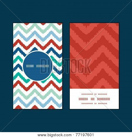Vector colorful ikat chevron vertical round frame pattern business cards set