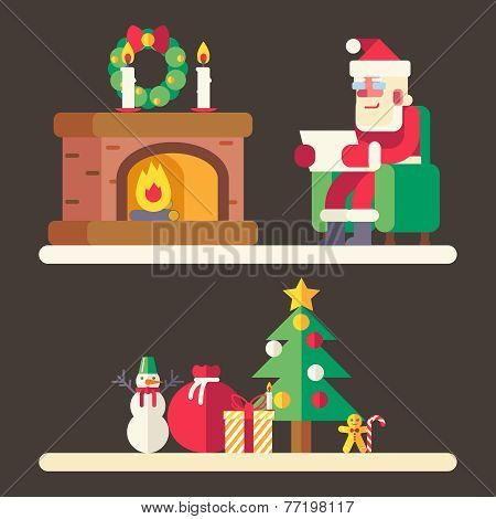 Santa claus reading mail list new year accessories icons greeting card design concept template vecto
