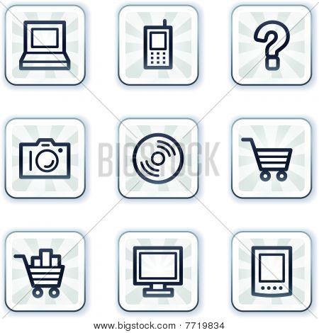 Electronics web icons set , white square buttons
