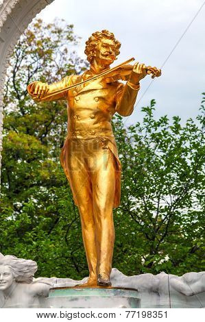 Johann Strauss Statue At Stadtpark In Vienna