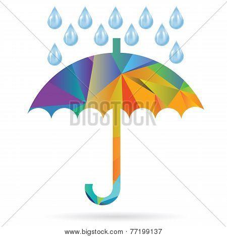 Umbrella Colored Polygonal Silhouette