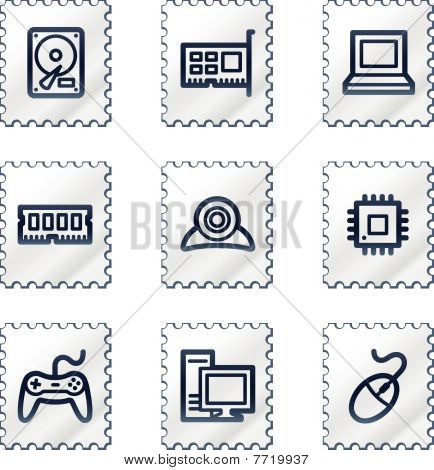 Computer web icons, white stamp series
