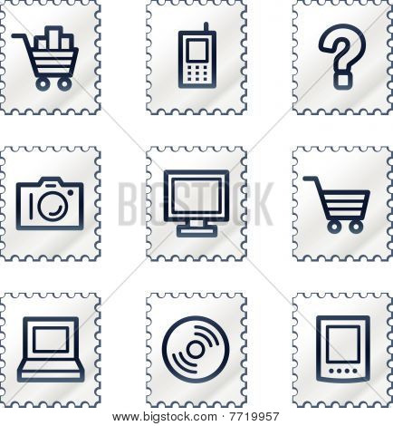 Electronics web icons set 1, white stamp series