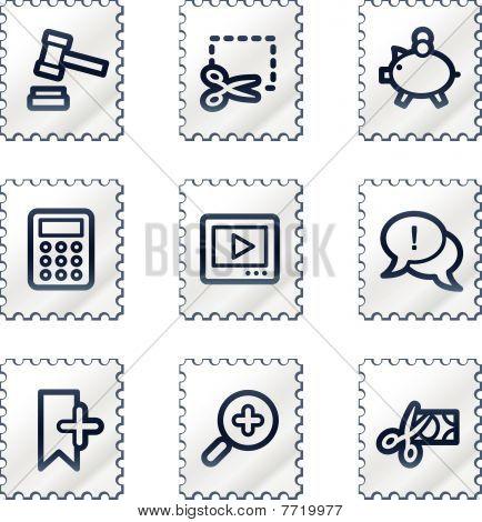 Shopping web icons set 3, white stamp series