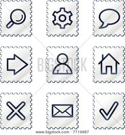 Basic web icons, white stamp series