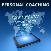 picture of self assessment  - Personal Coaching illustration with tablet computer on blue background - JPG