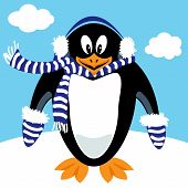 image of muff  - Funny penguin cartoon with winter ear muffs scarf and mittens  - JPG