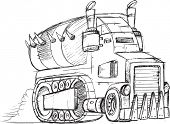 stock photo of armored car  - Armored Truck Vehicle Sketch Vector Illustration Art - JPG