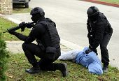 stock photo of special forces  - Special force police in action aiming gun  - JPG