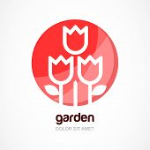picture of flower shop  - Red tulip flower in circle vector logo template - JPG