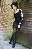image of gothic girl  - Beautiful girl in gothic inspired outfit dressed all in black - JPG