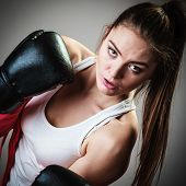picture of martial arts girl  - Martial arts or self defence concept - JPG