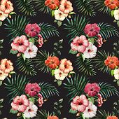 picture of tropical birds  - Beautiful vector pattern with tropic leafs on white - JPG