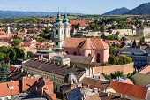 picture of yellow castle  - View of the historical center of Eger Hungary - JPG