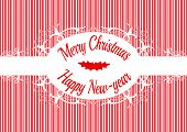 image of candy cane border  - Candy cane label Merry christmas and happy new year - JPG