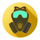 stock photo of respiration  - Flat icon of gas mask respirator - JPG