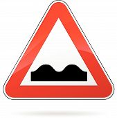 image of bump  - illustration of triangular isolated sign for bump - JPG