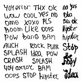 pic of slang  - Hand drawn set with short phrases words and slang on white background - JPG