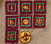 image of boy scout  - badges on scout uniform of Thai student - JPG