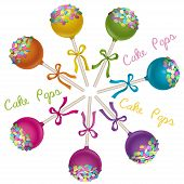 pic of cake pop  - Tasty delicacy Cake Pops Vector Illustrations Set - JPG