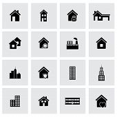 foto of building exterior  - Vector black buildings icons set on grey background - JPG