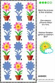 stock photo of riddles  - Visual puzzle or riddle with potted flowers - JPG