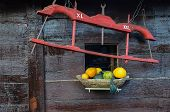stock photo of yoke  - Yoke with XL and XXL mark and yellow and green pumpkins in wooden vessel against wooden wall - JPG