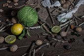 foto of rune  - Still life of ingredients for making potions witch - JPG