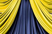 picture of stage decoration  - gold and blue curtain on stage for luxuary background - JPG