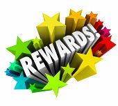 stock photo of prize  - Rewards word in colorful stars illustrating a reward - JPG
