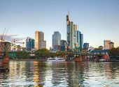 stock photo of frankfurt am main  - Frankfurt am Maine Germany cityscape at sunrise  - JPG