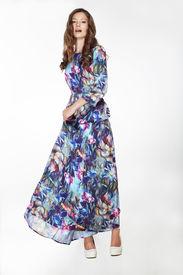 stock photo of scrappy  - Elegant Fashionable Female in Silky Blue Flowery Dress - JPG