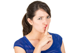 picture of shhh  - closeup of beautiful young woman gesturing silence shhh with finger on mouth isolated on white - JPG
