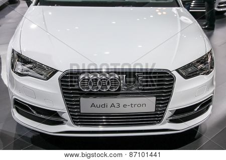 NEW YORK - APRIL 1: Audi exhibit Audi A3 e tron at the 2015 New York International Auto Show during Press day,  public show is running from April 3-12, 2015 in New York, NY.
