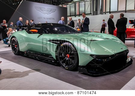 NEW YORK - APRIL 1: Aston Martin  exhibit Aston Martin Vulcan at the 2015 New York International Auto Show during Press day,  public show is running from April 3-12, 2015 in New York, NY.