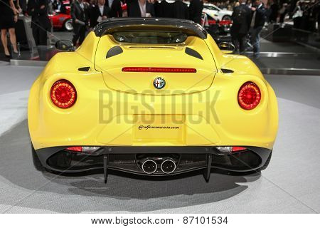 NEW YORK - APRIL 1: Alfa Romeo exhibit Spider 4C coupe at the 2015 New York International Auto Show during Press day,  public show is running from April 3-12, 2015 in New York, NY.