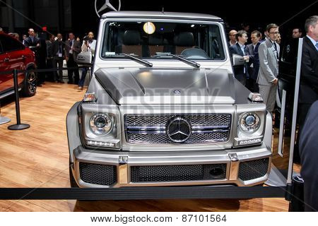 NEW YORK - APRIL 1: Mercedes Benz exhibit New G-65  at the 2015 New York International Auto Show during Press day,  public show is running from April 3-12, 2015 in New York, NY.