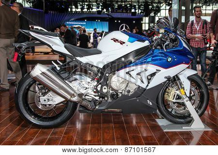 NEW YORK - APRIL 1: BMW exhibit 2015 BMW S 1000 RR at the 2015 New York International Auto Show during Press day,  public show is running from April 3-12, 2015 in New York, NY.