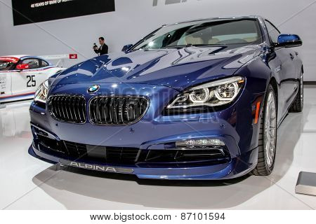 NEW YORK - APRIL 1: BMW exhibit BMW Alpina B6 Gran Coupe model at the 2015 New York International Auto Show during Press day,  public show is running from April 3-12, 2015 in New York, NY.