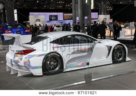 NEW YORK - APRIL 1: Lexus exhibit GT 3 at the 2015 New York International Auto Show during Press day,  public show is running from April 3-12, 2015 in New York, NY.