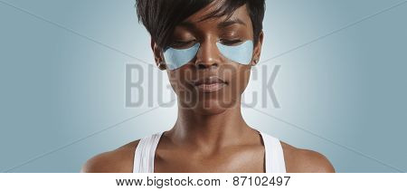 Woman With A Patches And Closed Eyes
