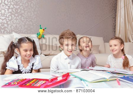 School kids study at home