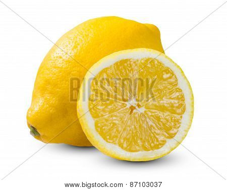 Fresh Yellow Lime, Lemons sliced rich witch vitamin C isolated on white bacground