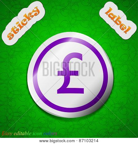 Pound Sterling Icon Sign. Symbol Chic Colored Sticky Label On Green Background. Vector