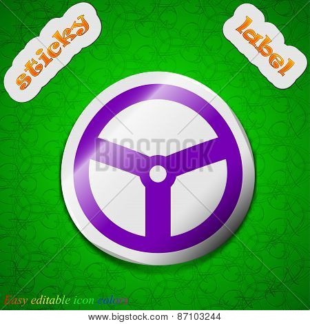 Steering Wheel Icon Sign. Symbol Chic Colored Sticky Label On Green Background. Vector