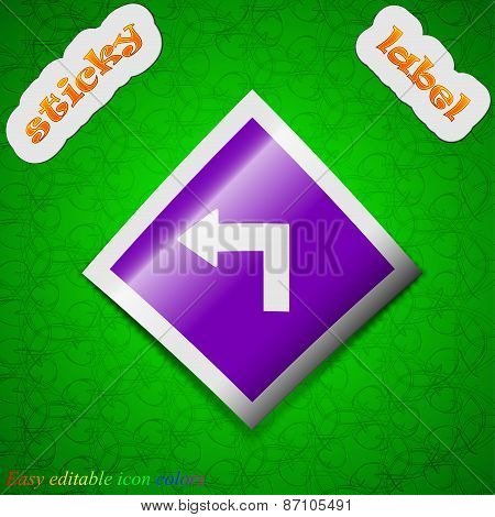 Road Sign Warning Of Dangerous Left Curve Icon Sign. Symbol Chic Colored Sticky Label On Green Backg
