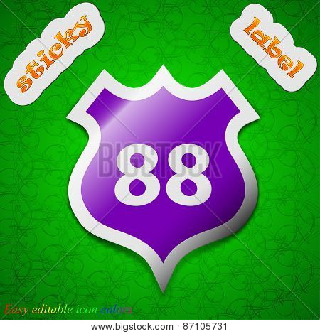 Route 88 Highway Icon Sign. Symbol Chic Colored Sticky Label On Green Background. Vector