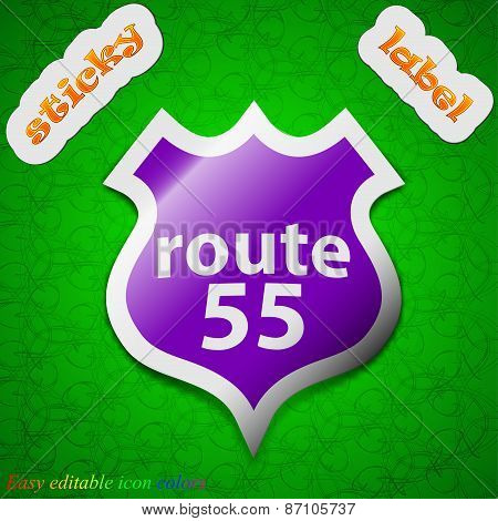 Route 55 Highway Icon Sign. Symbol Chic Colored Sticky Label On Green Background. Vector