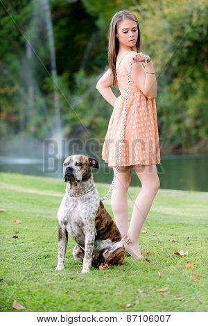 Cute Brunette Woman With Dog, Late Afternoon