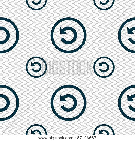 Upgrade, Arrow, Update Icon Sign. Seamless Pattern With Geometric Texture. Vector